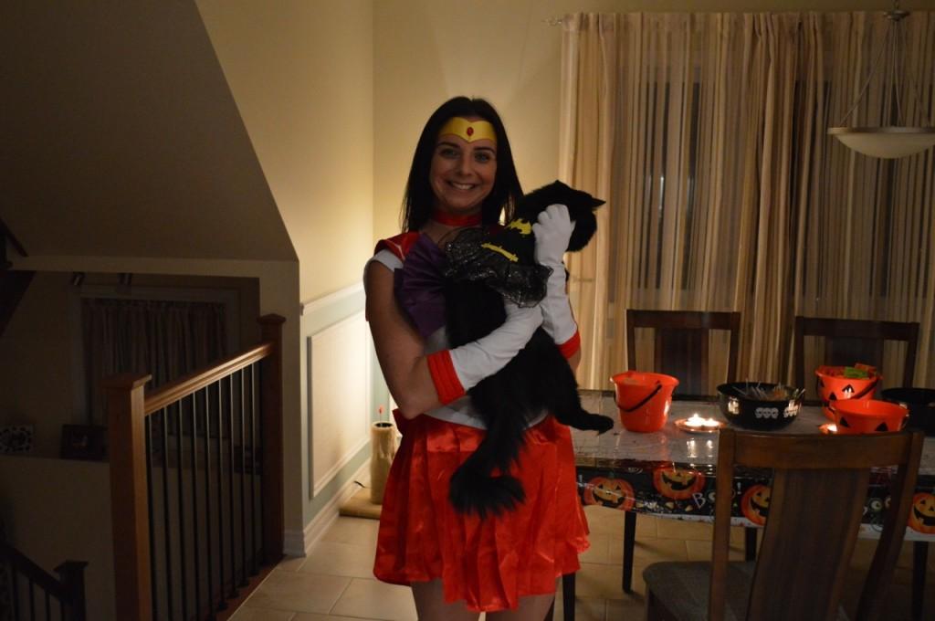 Véronique as Sailor Mars and Luna as Batgirl