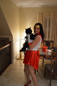 Véronique as Sailor Mars and Luna as Batgirl