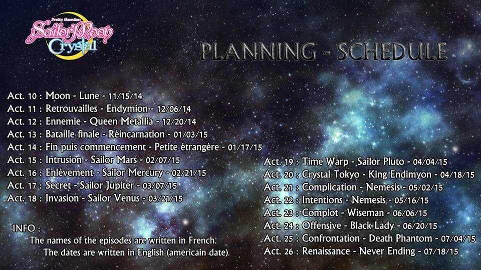 Sailor Moon Crystal schedule - French
