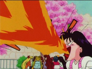 Sailor Moon R episode 51 - Rei breathing fire