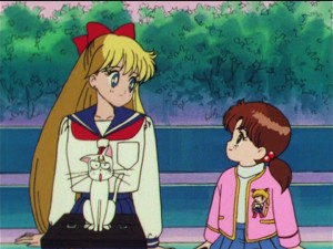 Sailor Moon R episode 52 - Minako talking to a young girl