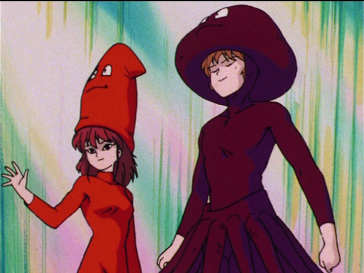 Sailor Moon R episode 54 - Natsumi and Seijuro dressed as squids