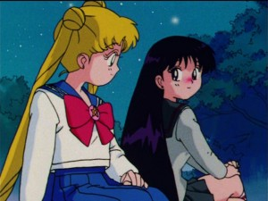 Sailor Moon R episode 54 - Usagi and Rei tolerating each other for a change