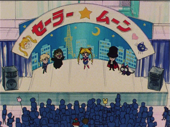 Sailor Moon R episode 58 - Sailor Moon stage show with Jadeite, Morga, Sailor Moon, Tuxedo Mask and Luna