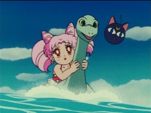 Sailor  Moon R episode 67 - Chibiusa riding Kirin