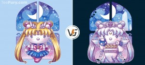 Hello Senshi and Hello Serenity shirts at TeeFury