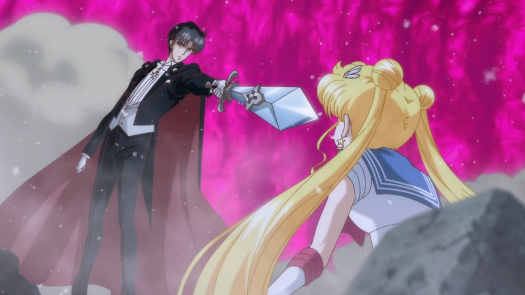 Sailor Moon Crystal Act 12 - Evil Tuxedo Mask threatening Sailor Moon