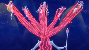 Sailor Moon Crystal Act 12 - Queen Beryl attacking the Sailor Guardians with her hair