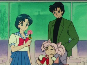 Sailor Moon R episode 62 - Ami, Chibiusa and Mamoru at the airport
