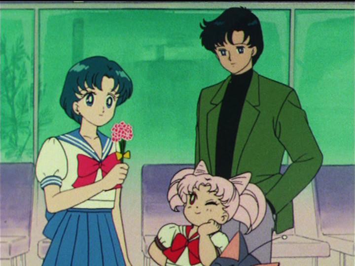 Sailor Moon R episode 62 - Ami, Chibiusa and Mamoru at the airport