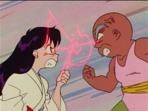 Sailor Moon R episode 63 - Rei and her Grandpa fighting