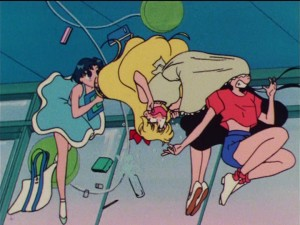 Sailor Moon R episode 64 - Rei with her head up Minako's skirt