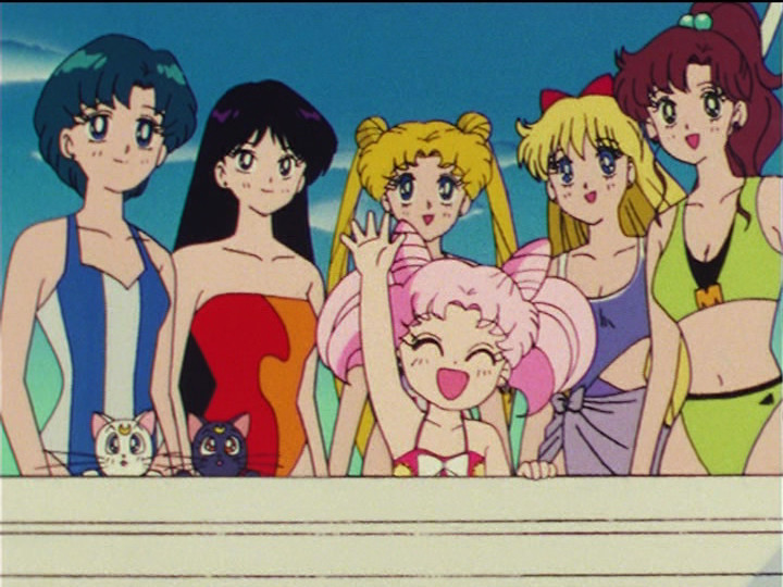 Sailor Moon R episode 67 - Ami, Rei, Usagi, Minako, Makoto, Artemis, Luna and Chibiusa on a boat