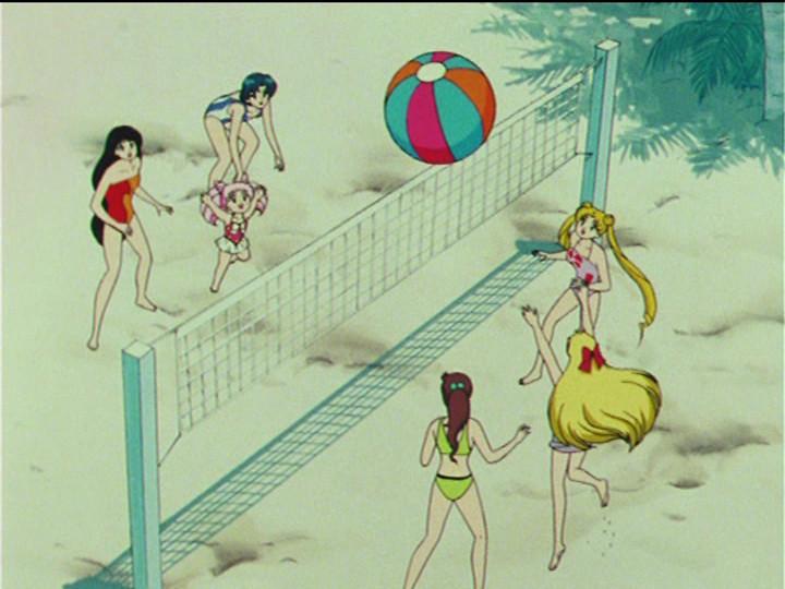 Sailor Moon R episode 67 - Rei, Chibiusa, Ami, Makoto, Minako and Usagi playing beach volleyball in swimsuits