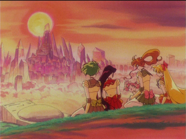 Sailor Moon R episode 68 - The Sailor Guardians and Chibiusa in Crystal Tokyo