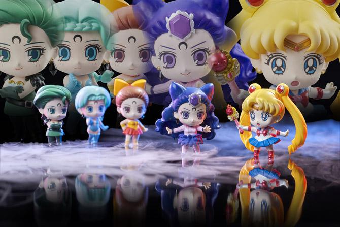 Ayakashi Sisters Petit Chara figures - Petz, Berthier, Calaveras, Koan and Sailor Moon