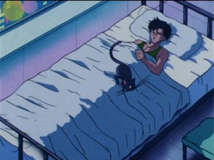 Sailor Moon R episode 69 - Luna jumping on Mamoru's penis