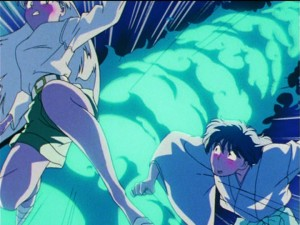 Sailor Moon R episode 70 - Koan attacking Rei and Yuuichirou