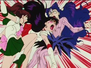 Sailor Moon R episode 70 - Sailor Mars defending Koan from Sailor Jupiter's kick