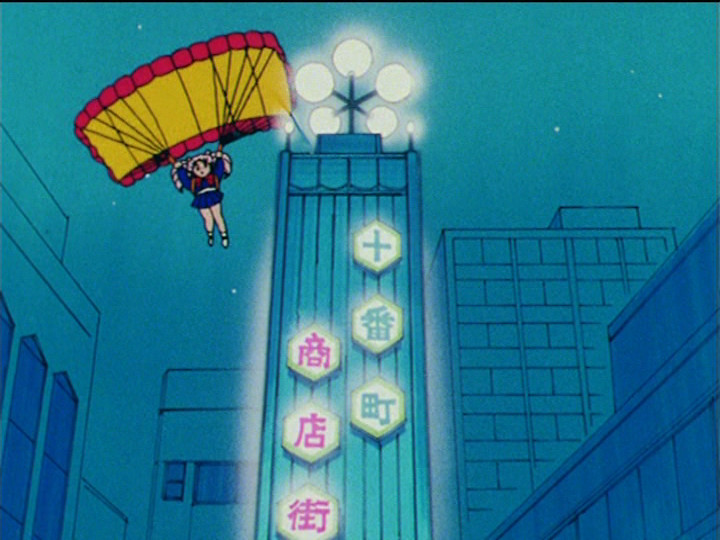 Sailor Moon R episode 74 - Chibiusa parachuting