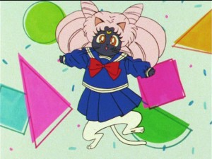 Sailor Moon R episode 74 - Luna and Artemis dressed as Chibiusa