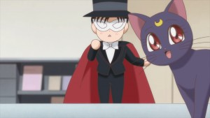 Sailor Moon Crystal Act 16 - Tuxedo Mask Puppet and ventriloquist Luna who Chibiusa already knows
