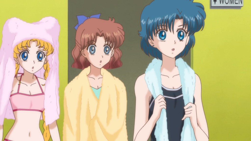 Sailor Moon Crystal Act 16 - Usagi, Naru and Ami in swimsuits