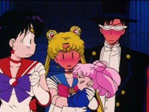Sailor Moon R episode 83 - Sailor Mars, Sailor Moon and Tuxedo Mask learn that Chibiusa is Usagi and Mamoru's daughter