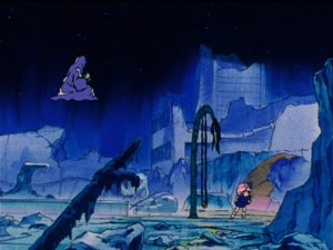 Sailor Moon R episode 84 - Chibiusa in the park in 30th Century Crystal Tokyo