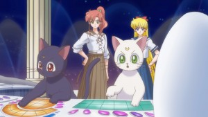 Sailor Moon Crystal Act 17 - Luna and Artemis typing on a computer