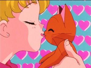 Sailor Moon S episode 91 - A cat licks Usagi