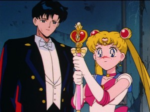 Sailor Moon S episode 91 - Tuxedo Mask, Sailor Moon and the Spiral Heart Moon Rod