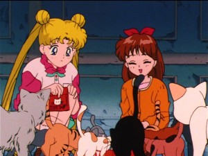 Sailor Moon S episode 91 - Usagi, Miharu and a bunch of cats