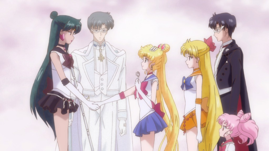 Sailor Moon Crystal Act 20 - Sailor Pluto shakes the hand of the future wife of the man she loves
