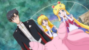 Sailor Moon Crystal Act 20 - Tuxedo Mask, Sailor Venus and Sailor Moon learn that Chibiusa is Tuxedo Mask and Sailor Moon's daughter