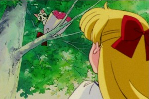 Sailor Moon S episode 100 - Artemis giving Minako flowers