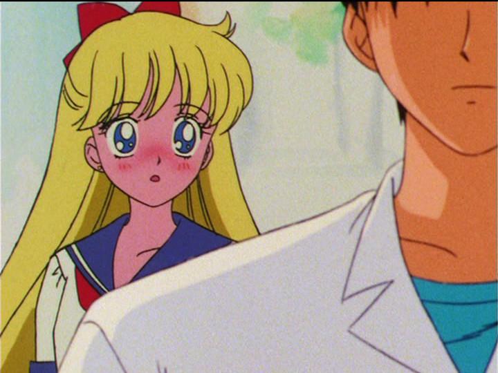 Sailor Moon S episode 100 - Minako blushes at Tsutomu