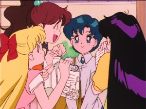 Sailor Moon S episode 97 - Makoto, Minako and Rei ask Ami for help with homework