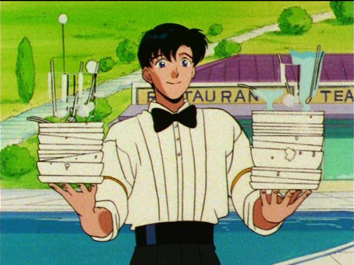 Sailor Moon S episode 105 - Mamoru at his part time job