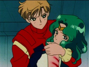 Sailor Moon S episode 106 - Haruka holding Sailor Neptune