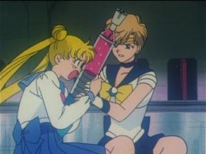 Sailor Moon S episode 110 - Usagi struggles with Haruka