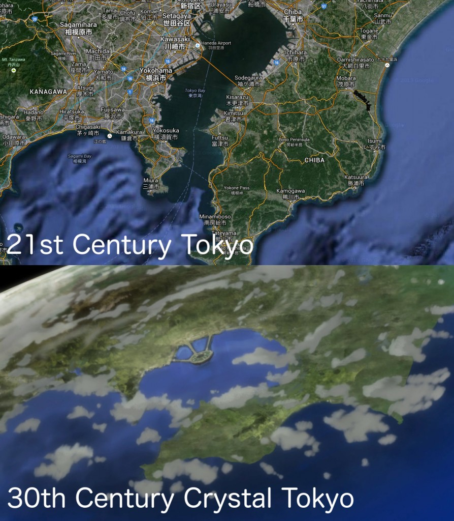 Tokyo in the 21st Century vs. 30th Century Crystal Tokyo