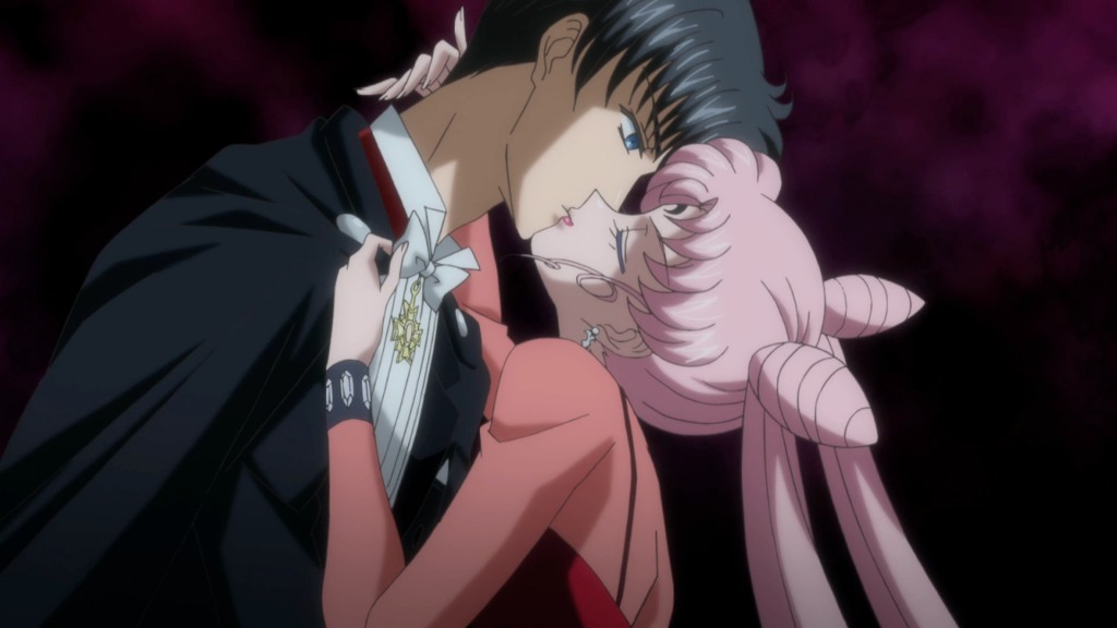 Sailor Moon Crystal Act 23 - Black Lady kissing her father Tuxedo Mask