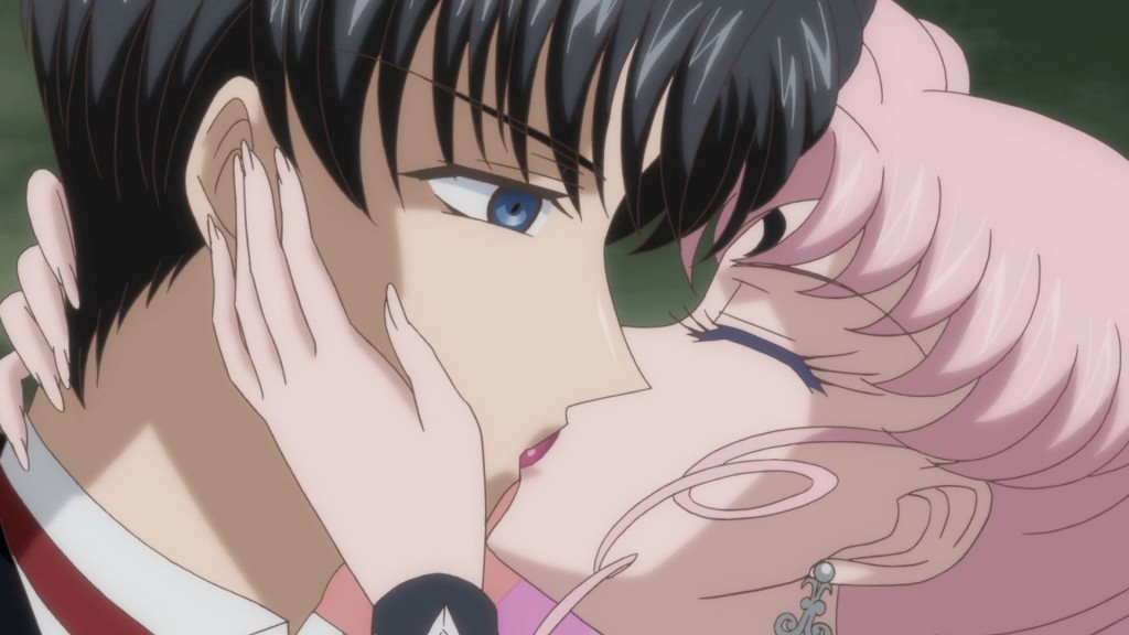 Sailor Moon Crystal Act 24 - Black lady kissing her father Endymion