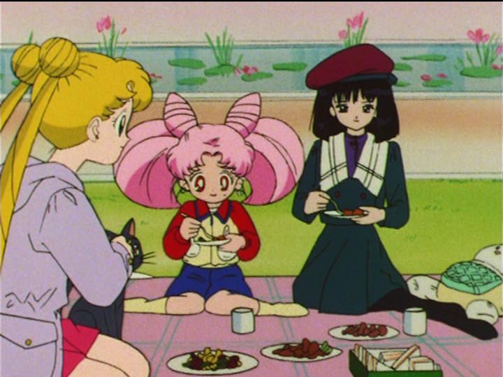 Sailor Moon S episode 116 - Usagi, Chibiusa and Hotaru having a picnic