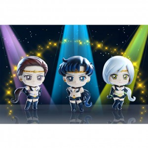 Sailor Star Maker, Sailor Star Fighter and Sailor Star Healer Petit Chara figures