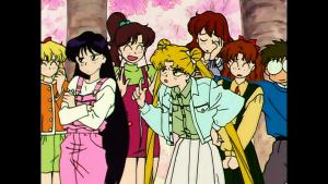 Viz Blu-Ray screenshot - Sailor Moon R episode 51 - Minako, Rei, Makoto, Usagi, Haruna, Naru and Umino