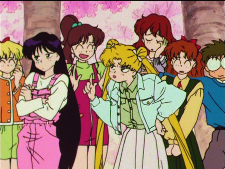Japanese DVD screenshot - Sailor Moon R episode 51 - Minako, Rei, Makoto, Usagi, Haruna, Naru and Umino
