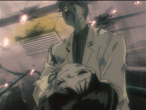 Sailor Moon S episode 120 - Professor Tomoe mourns for Hotaru