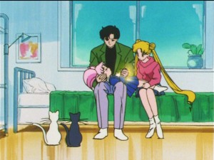 Sailor Moon S episode 123 - Mamoru keeping Chibiusa alive